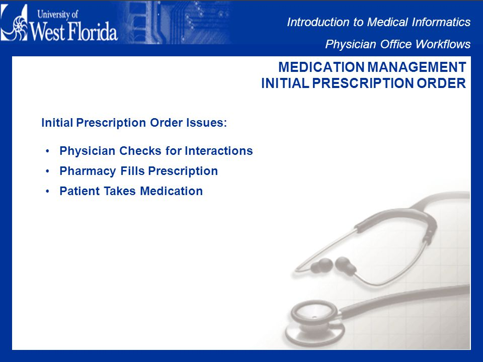 Introduction to Medical Informatics Physician Office Workflows MEDICATION MANAGEMENT INITIAL PRESCRIPTION ORDER Initial Prescription Order includes: Physician Selects Medication Physician Checks for Interactions Physician Prescribes Medication Prescription to Pharmacy Pharmacy Fills Prescription Patient Takes Medication