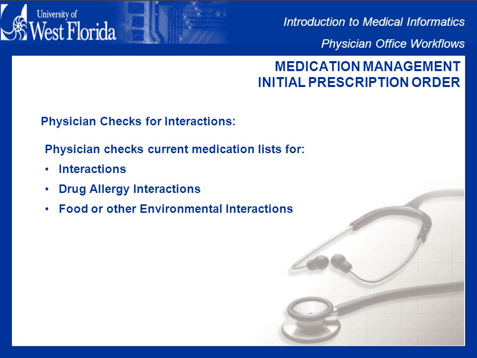 Introduction to Medical Informatics Physician Office Workflows MEDICATION MANAGEMENT INITIAL PRESCRIPTION ORDER Initial Prescription Order Issues: Physician Checks for Interactions Pharmacy Fills Prescription Patient Takes Medication