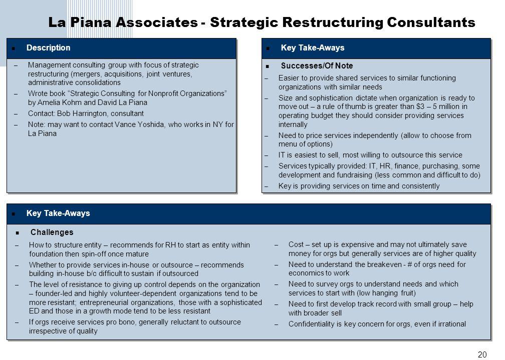 20 La Piana Associates - Strategic Restructuring Consultants Description – Management consulting group with focus of strategic restructuring (mergers,