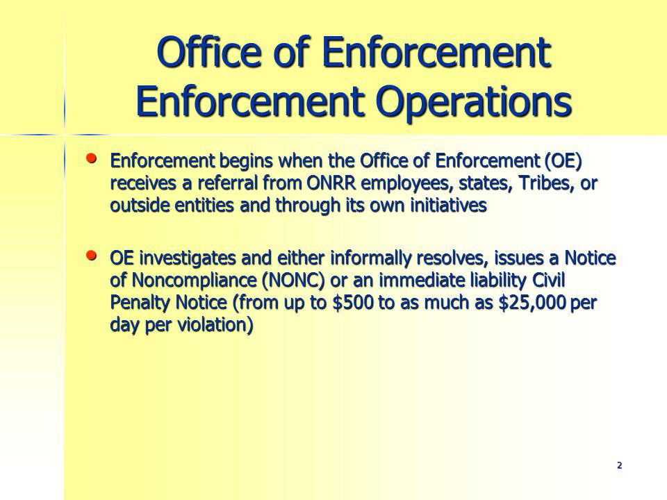 13 Office of Enforcement Litigation Support Assist DOJ and Solicitors Office with discovery and other litigation support Assist DOJ and Solicitors Office with discovery and other litigation support Coordinate bankruptcies/file proofs of claim Coordinate bankruptcies/file proofs of claim Refer unpaid debts to Department of Treasury Refer unpaid debts to Department of Treasury Maintain adequate Surety Instruments Maintain adequate Surety Instruments