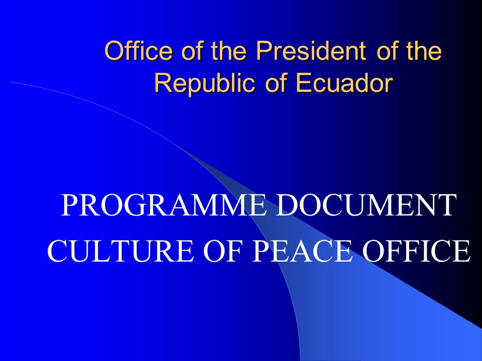 Purpose of the project: To carry out the initial activities of the Culture of Peace Office (OCP) by implementing projects for the formulation of policies and activities from the perspective of a culture of peace which may have an impact on the development and/or consolidation of values, attitudes and behaviours that promote the exercise of peace as a basis for human development in dignity.