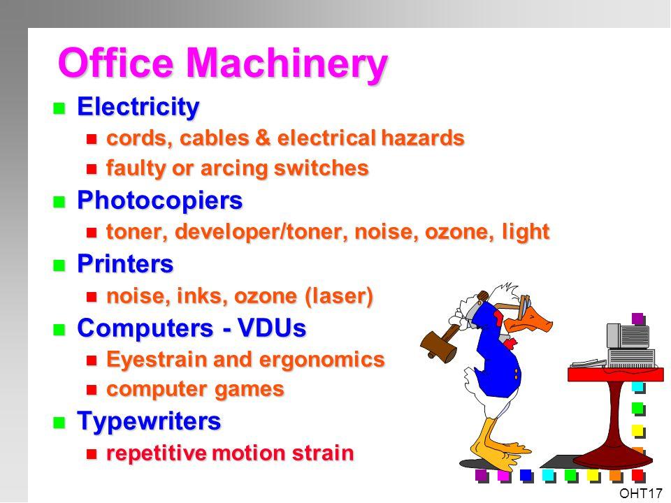 OHT16 Workplace Specific Hazards & Risks? n Slips, Trips & Falls n Manual Handling & Ergonomics n Chemical & Biological Hazards n Physical Hazards n P