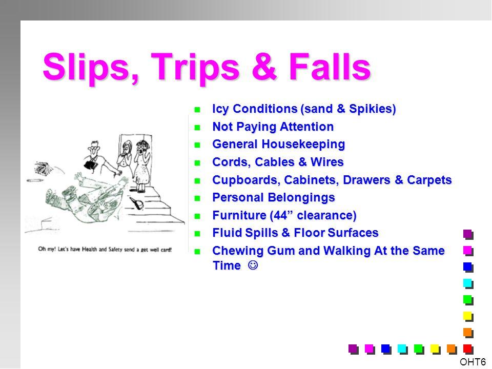OHT5 Workplace Specific Hazards & Risks? n Slips, Trips & Falls n Manual Handling & Ergonomics n Chemical & Biological Hazards n Physical Hazards n Ps