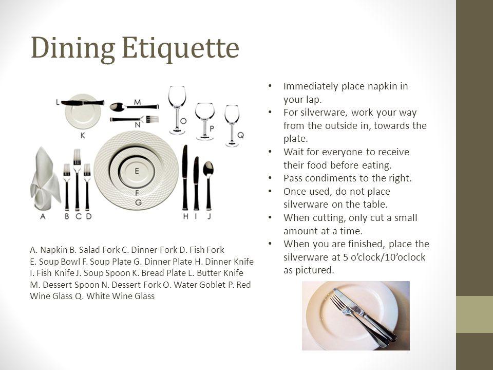 Dining Etiquette A. Napkin B. Salad Fork C. Dinner Fork D.