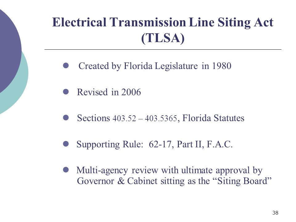 38 Electrical Transmission Line Siting Act (TLSA) Created by Florida Legislature in 1980 Revised in 2006 Sections 403.52 – 403.5365, Florida Statutes Supporting Rule: 62-17, Part II, F.A.C.