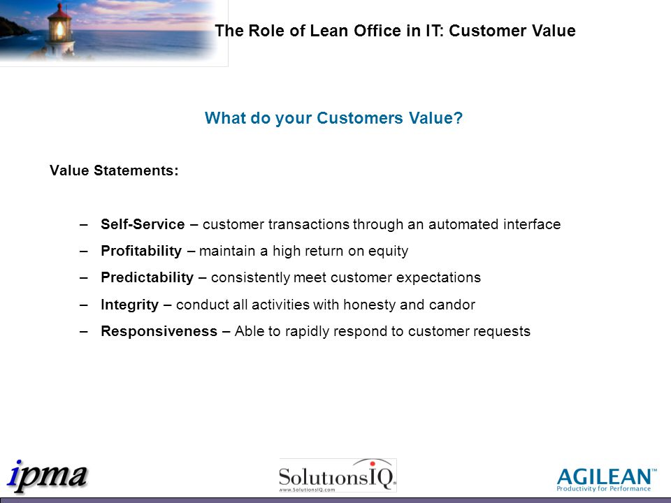 What do your Customers Value.
