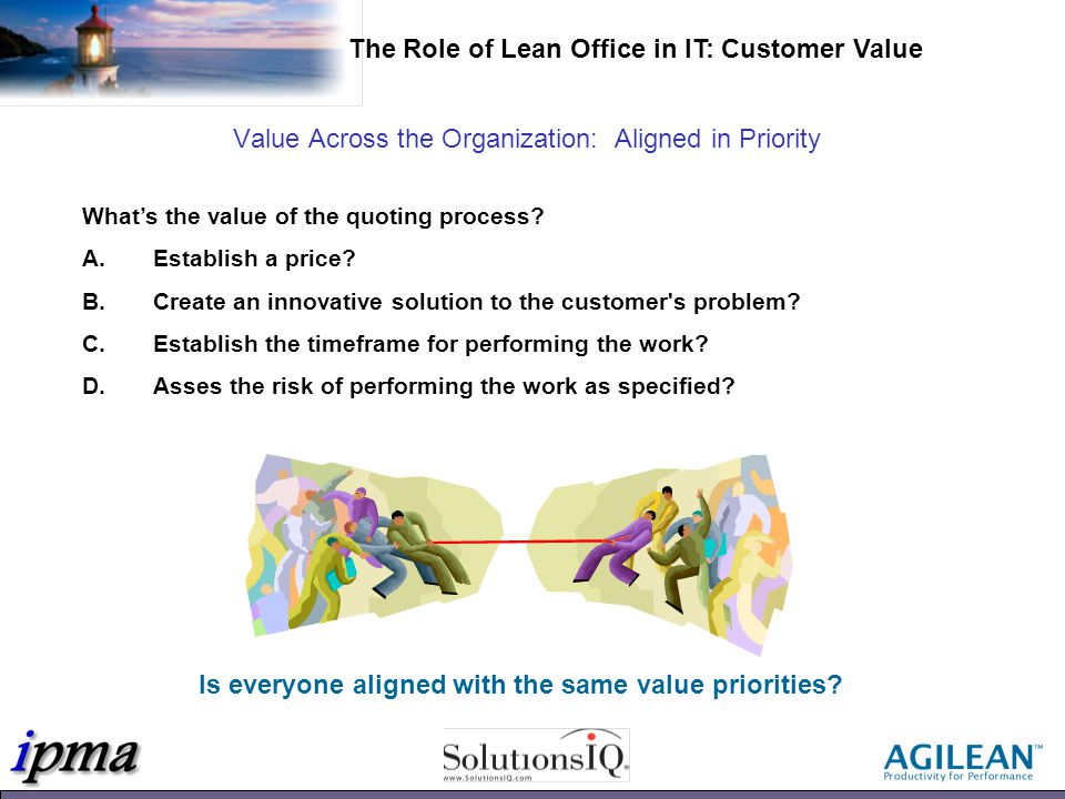 Value Across the Organization: Aligned in Priority Whats the value of the quoting process.