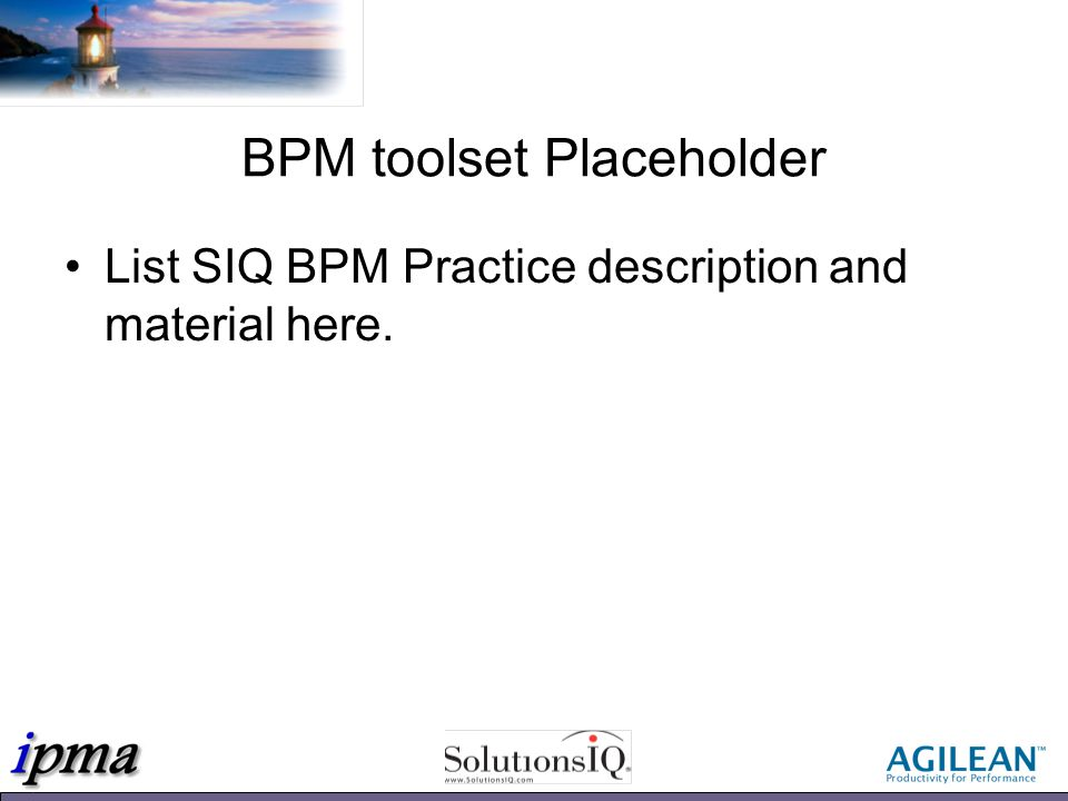 BPM toolset Placeholder List SIQ BPM Practice description and material here.