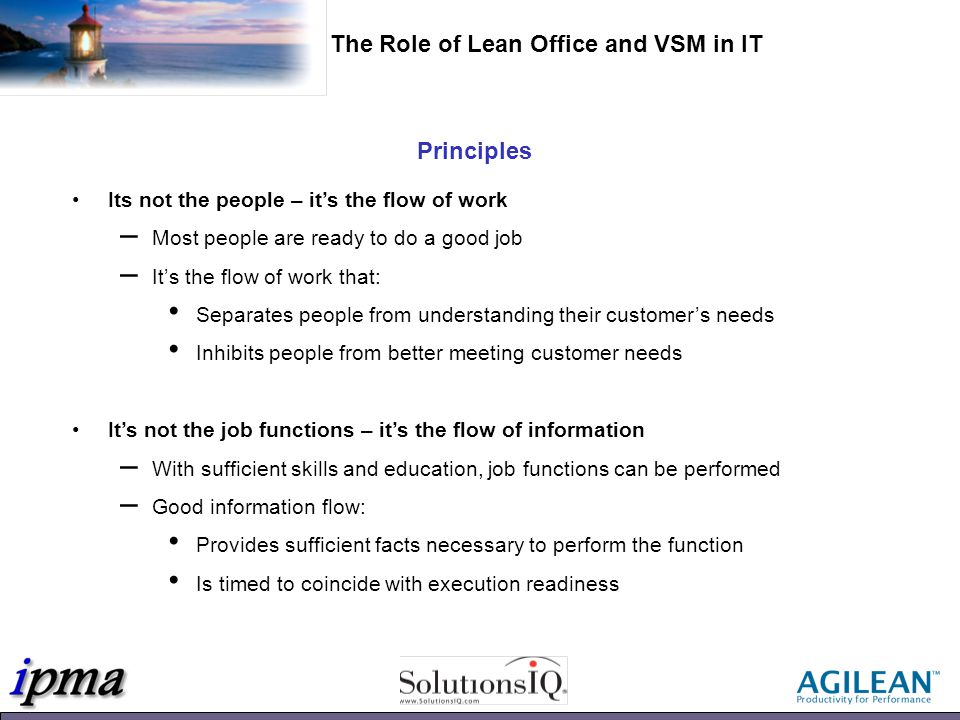 Actual VSM Example The Role of Lean Office in IT: VSM