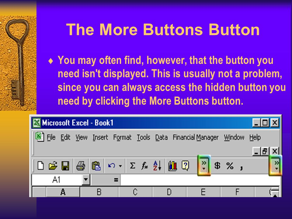 The More Buttons Button You may often find, however, that the button you need isn t displayed.