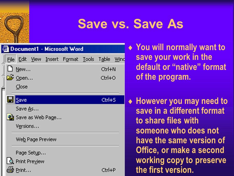 Save vs.
