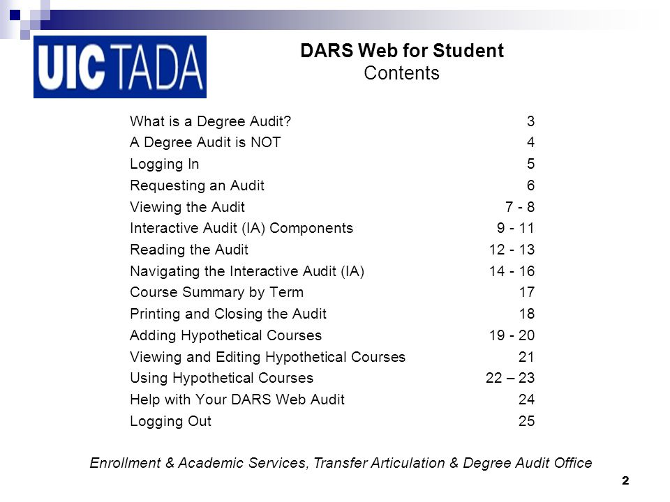 3 DARS Web for Student What is a Degree Audit.