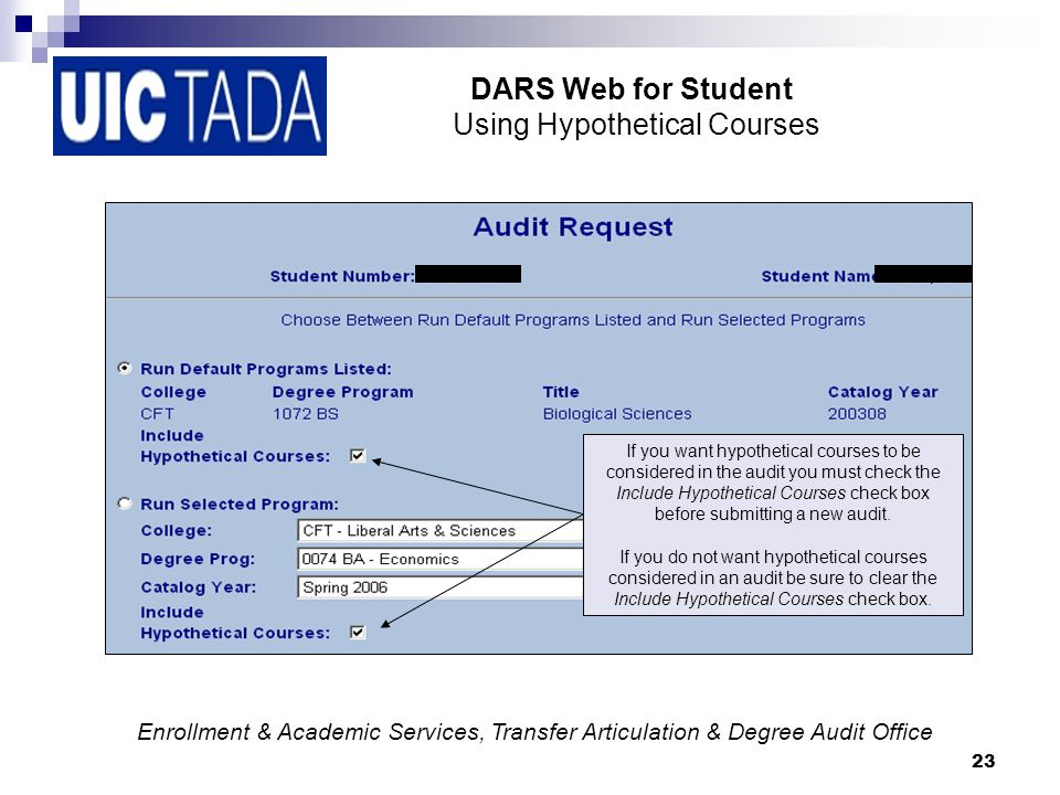 23 DARS Web for Student Using Hypothetical Courses If you want hypothetical courses to be considered in the audit you must check the Include Hypothetical Courses check box before submitting a new audit.