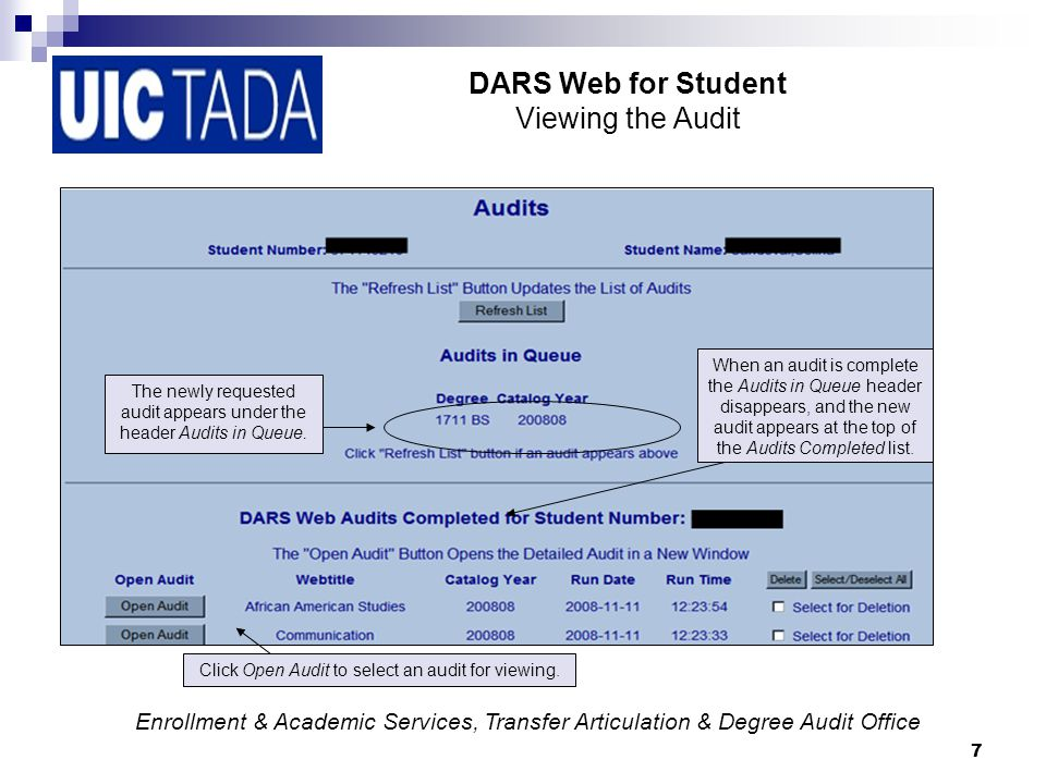 18 DARS Web for Student Printing and Closing the Audit Click on the Printer Friendly link to print a text only version of the audit without charts and graphs.