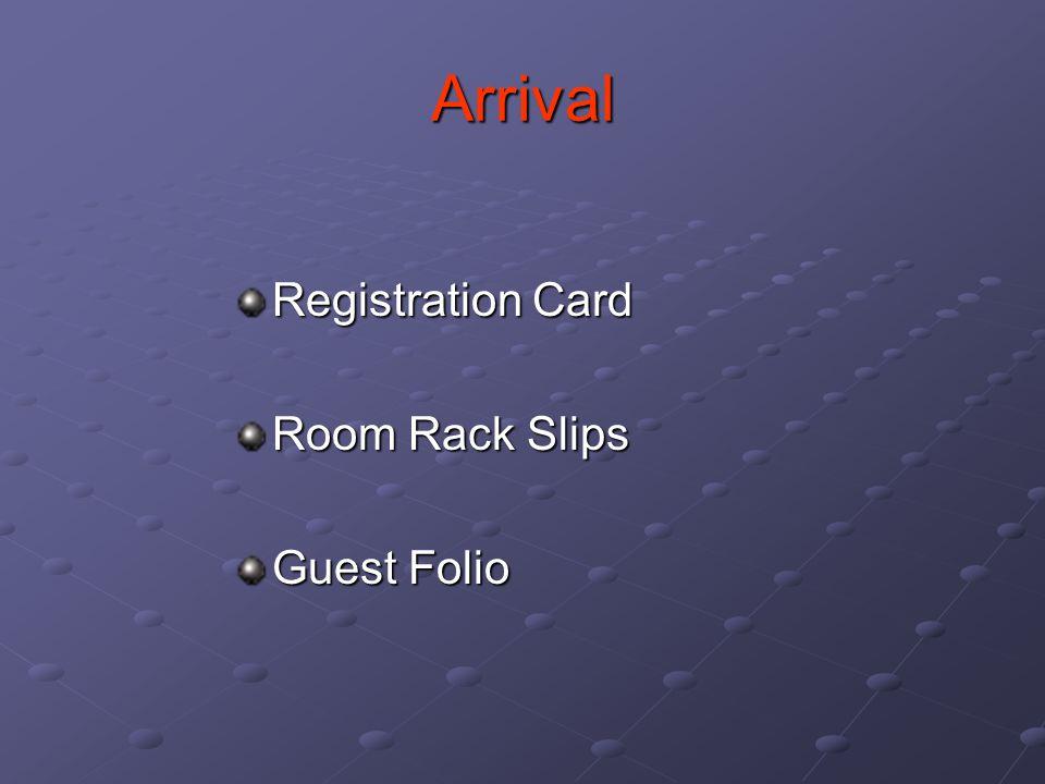 Arrival Registration Card Room Rack Slips Guest Folio