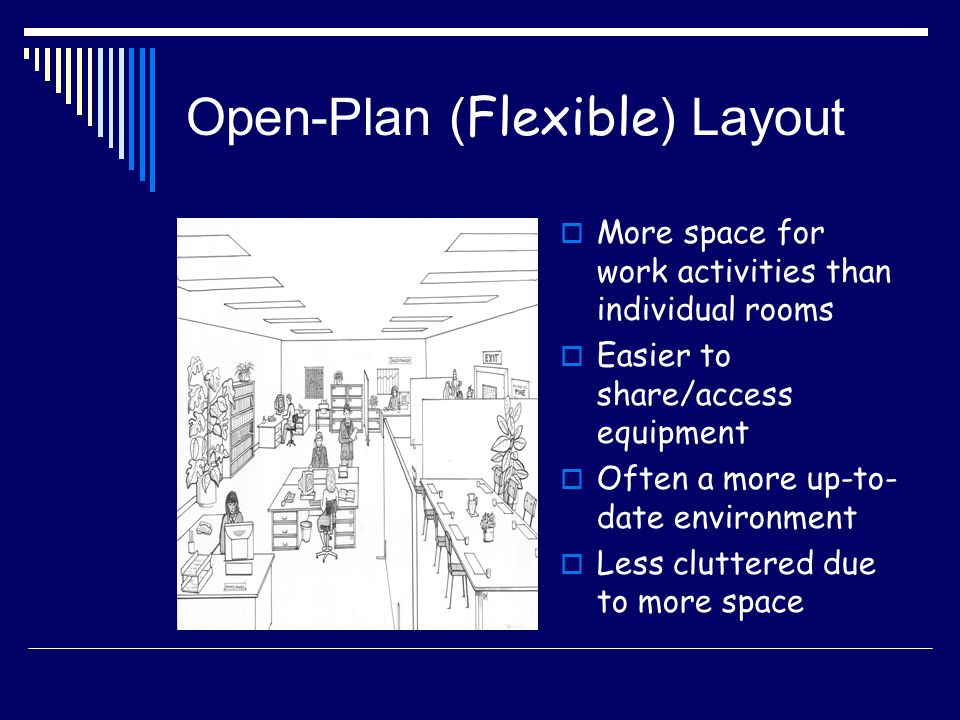 Open-Plan ( Flexible ) Layout More space for work activities than individual rooms Easier to share/access equipment Often a more up-to- date environme