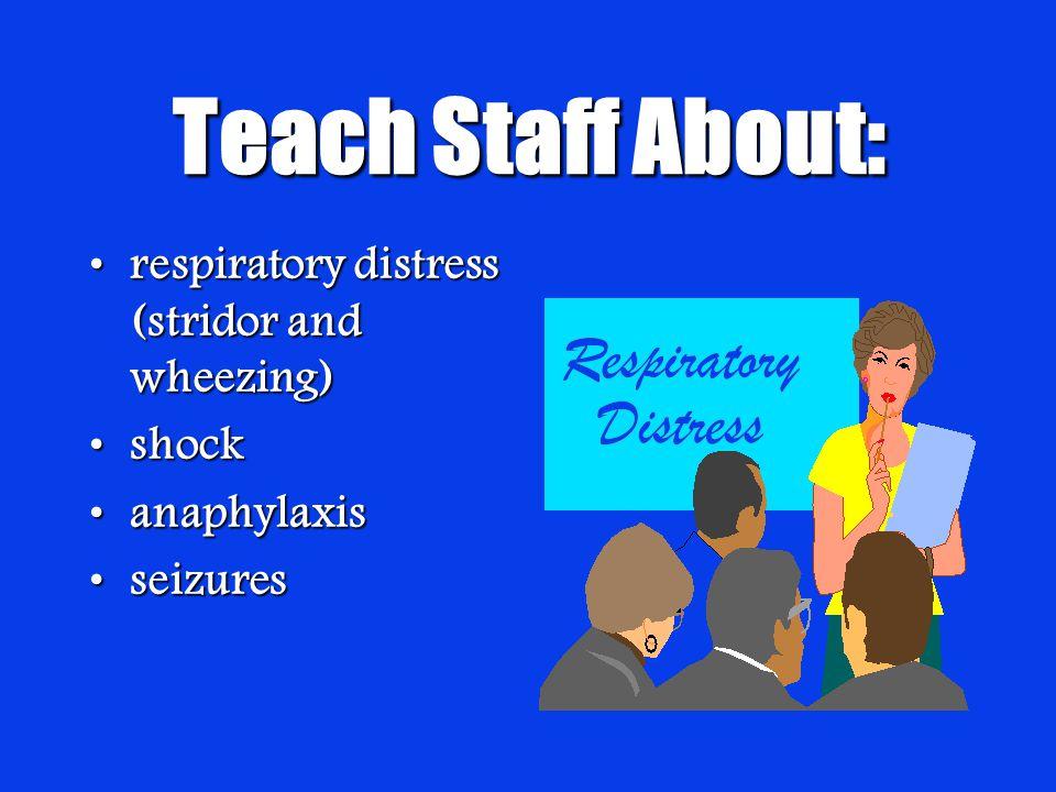 Teach Staff About: respiratory distress (stridor and wheezing)respiratory distress (stridor and wheezing) shockshock anaphylaxisanaphylaxis seizuresseizures