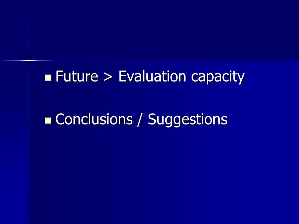 Future > Evaluation capacity Future > Evaluation capacity Conclusions / Suggestions Conclusions / Suggestions