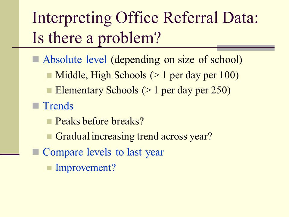 Interpreting Office Referral Data: Is there a problem.