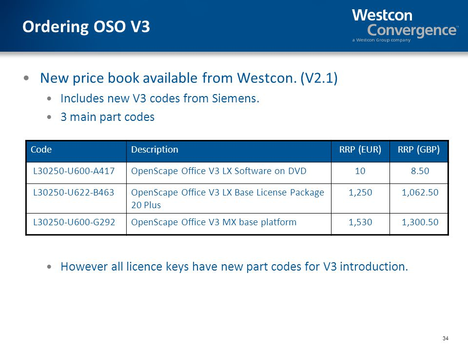 34 Ordering OSO V3 New price book available from Westcon.