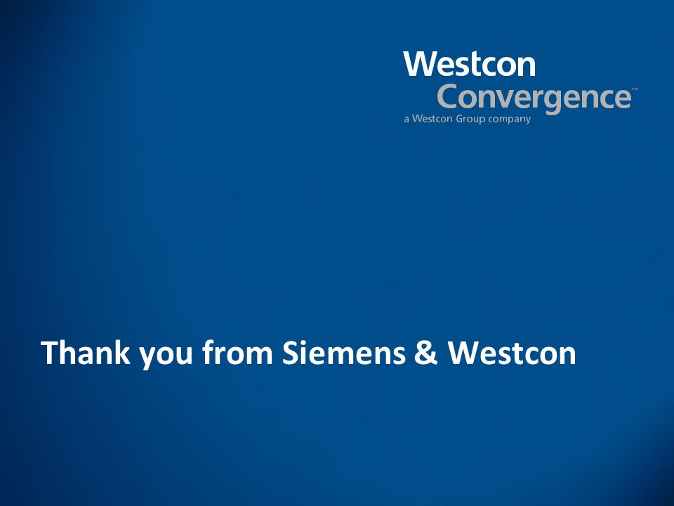 Thank you from Siemens & Westcon