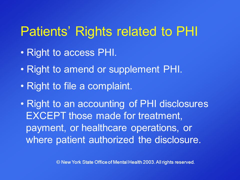 Patients Rights related to PHI Right to access PHI. Right to amend or supplement PHI. Right to file a complaint. Right to an accounting of PHI disclos