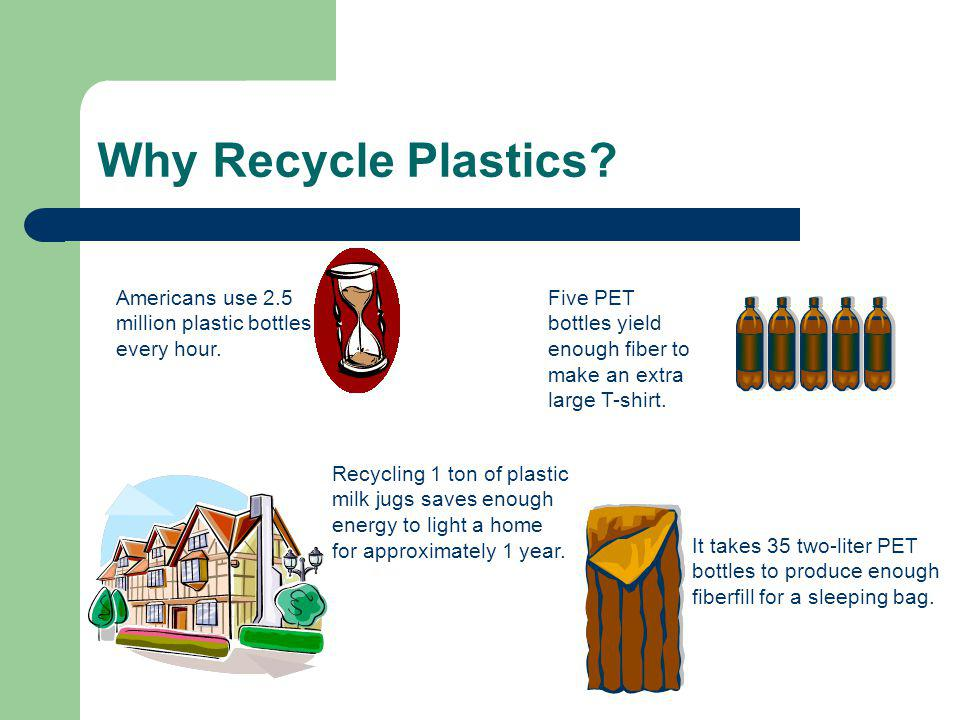 Why Recycle Plastics. Five PET bottles yield enough fiber to make an extra large T-shirt.