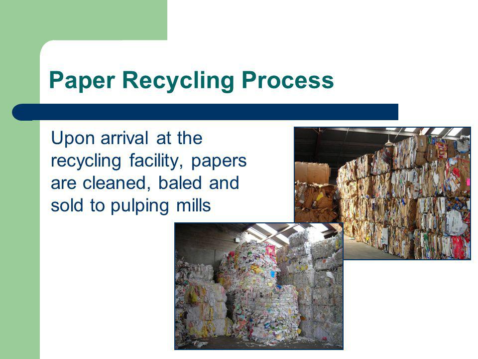 Glass Recycling Process Upon arrival at the recycling facility, glass is crushed, cleaned and sold to mills