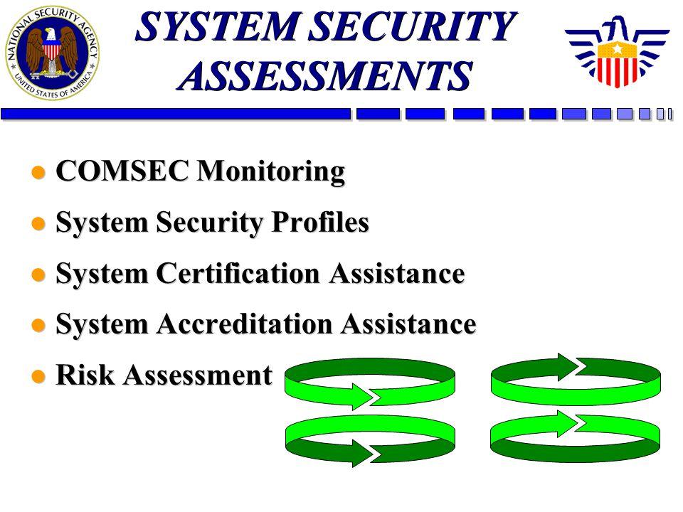 l COMSEC Monitoring l System Security Profiles l System Certification Assistance l System Accreditation Assistance l Risk Assessment l COMSEC Monitori