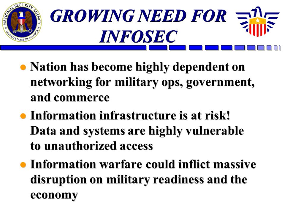 GROWING NEED FOR INFOSEC l Nation has become highly dependent on networking for military ops, government, and commerce l Information infrastructure is