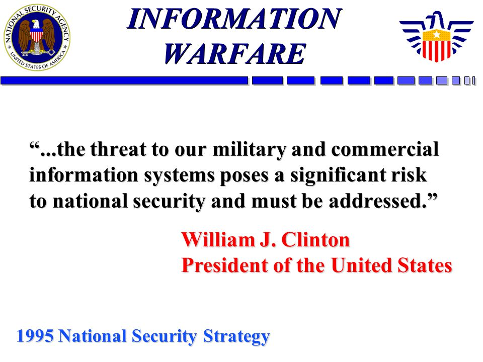 INFORMATION WARFARE...the threat to our military and commercial information systems poses a significant risk to national security and must be addresse