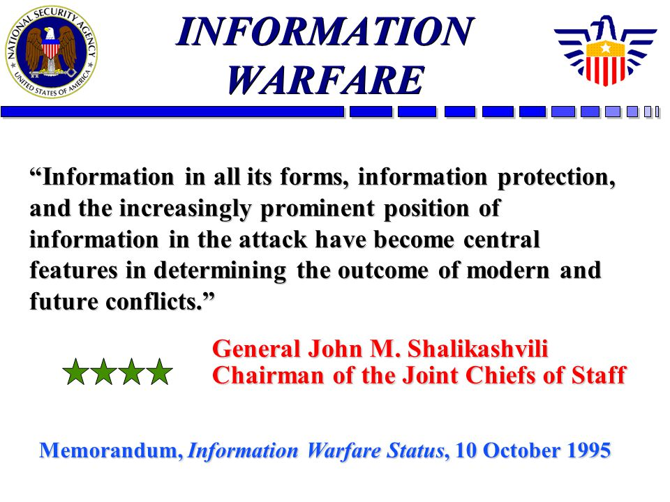 INFORMATION WARFARE Information in all its forms, information protection, and the increasingly prominent position of information in the attack have become central features in determining the outcome of modern and future conflicts.