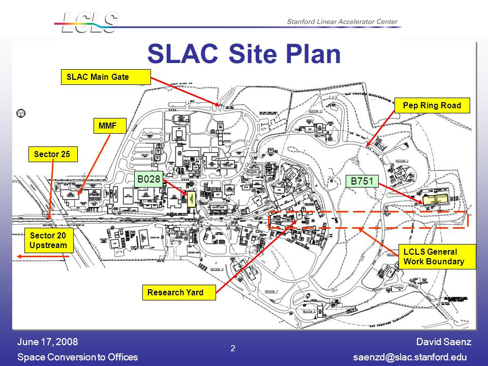 David Saenz Space Conversion to Officessaenzd@slac.stanford.edu June 17, 2008 2 SLAC Site Plan SLAC Main Gate MMF Research Yard Pep Ring Road LCLS General Work Boundary Sector 25 Sector 20 Upstream B028 B751