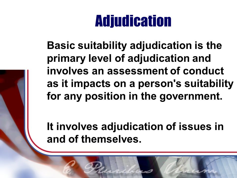 Adjudication Basic suitability adjudication is the primary level of adjudication and involves an assessment of conduct as it impacts on a person s suitability for any position in the government.