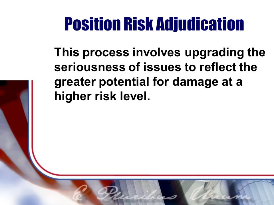 Position Risk Adjudication This process involves upgrading the seriousness of issues to reflect the greater potential for damage at a higher risk level.