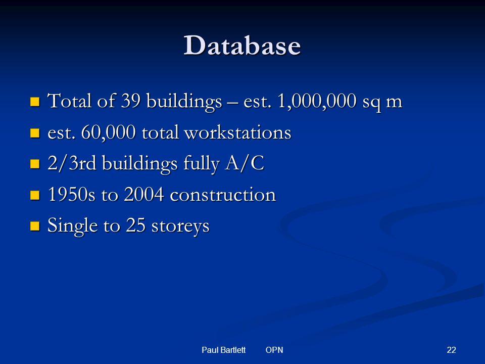 22Paul Bartlett OPN Database Total of 39 buildings – est.