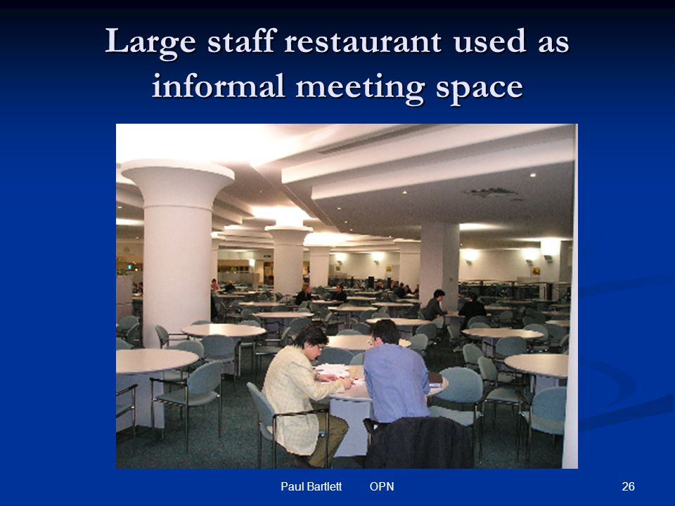 26Paul Bartlett OPN Large staff restaurant used as informal meeting space