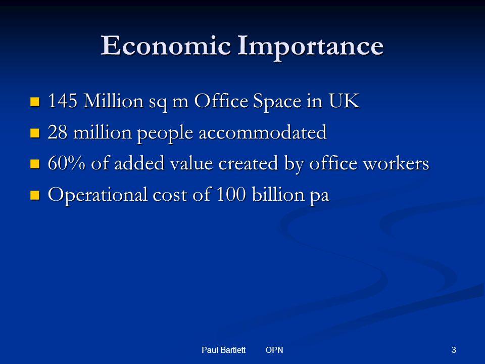 3Paul Bartlett OPN Economic Importance 145 Million sq m Office Space in UK 145 Million sq m Office Space in UK 28 million people accommodated 28 million people accommodated 60% of added value created by office workers 60% of added value created by office workers Operational cost of 100 billion pa Operational cost of 100 billion pa