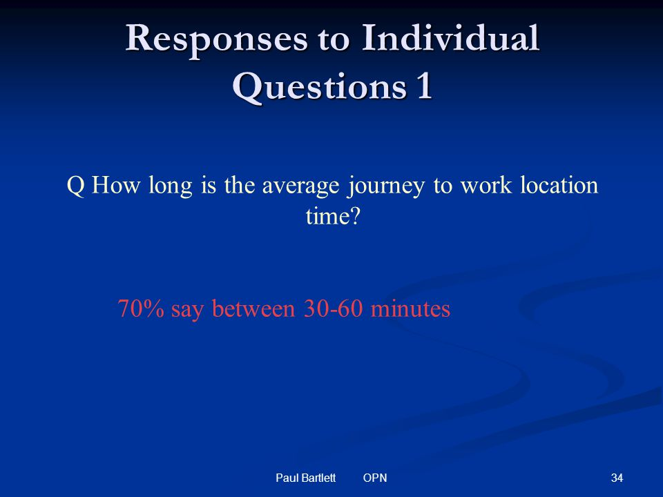 34Paul Bartlett OPN Responses to Individual Questions 1 Q How long is the average journey to work location time.