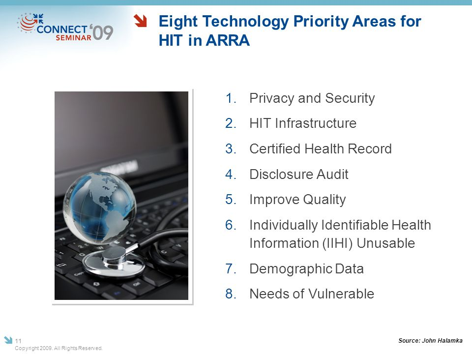Eight Technology Priority Areas for HIT in ARRA 1. Privacy and Security 2. HIT Infrastructure 3. Certified Health Record 4. Disclosure Audit 5. Improv