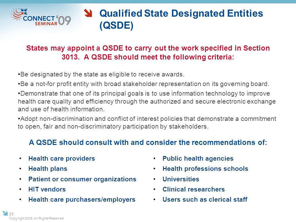 Qualified State Designated Entities (QSDE) States may appoint a QSDE to carry out the work specified in Section 3013. A QSDE should meet the following