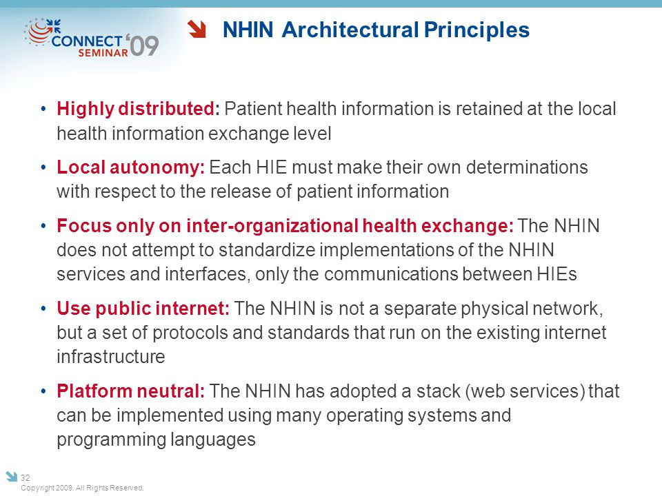 NHIN Architectural Principles Highly distributed: Patient health information is retained at the local health information exchange level Local autonomy