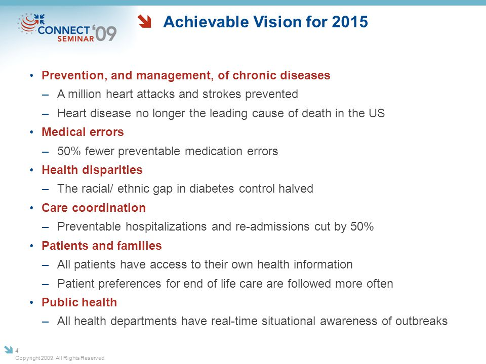 Achievable Vision for 2015 Prevention, and management, of chronic diseases –A million heart attacks and strokes prevented –Heart disease no longer the
