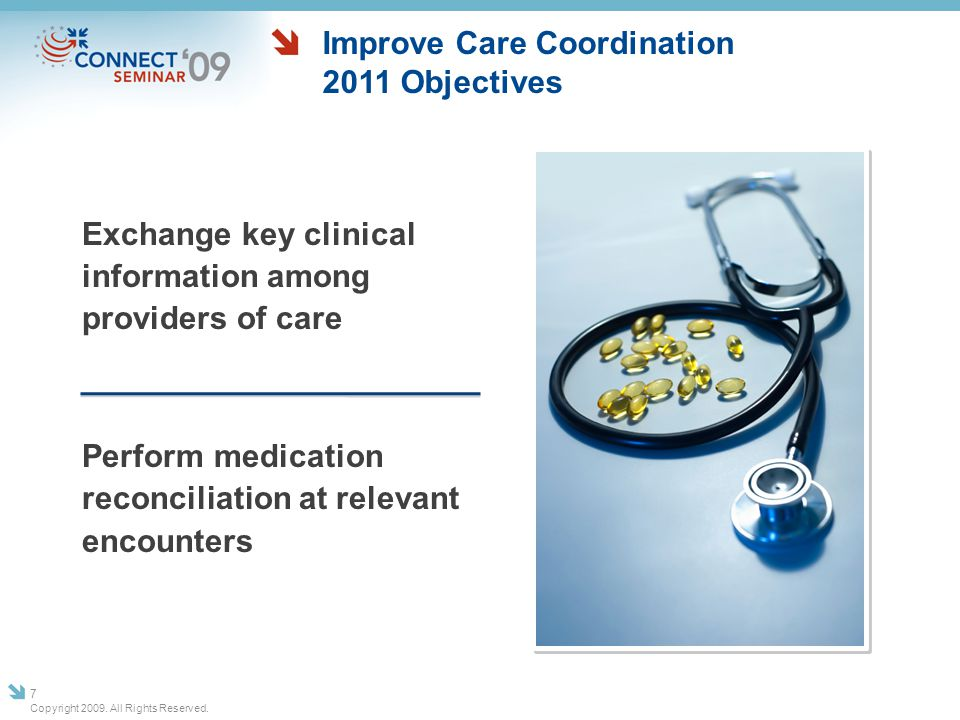 Summary Journey to a transformed health system requires meaningful use of transformation-capable HIT Migration of HIT readiness from current situation to fully HIT-enabled ecosystem will evolve over time Proposed MU criteria for 2011 and beyond provides escalating capabilities, balancing urgent need for reform and feasibility of what is achievable Copyright 2009.