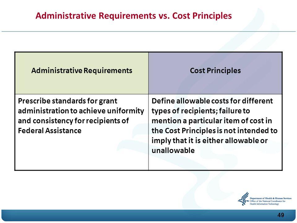 49 Administrative Requirements vs.