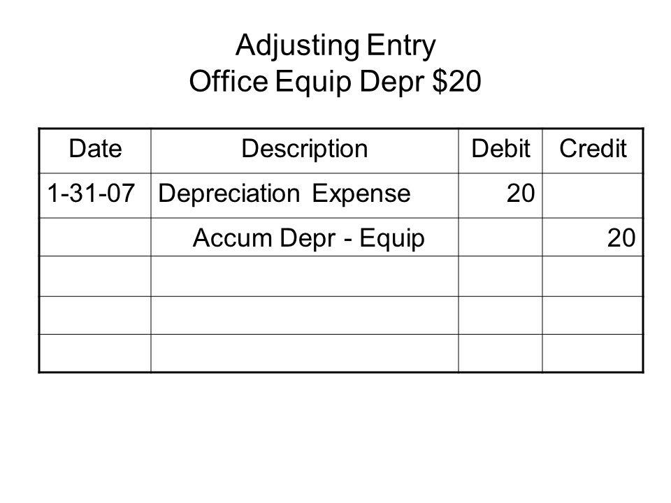 Adjusting Entry Office Equip Depr $20 DateDescriptionDebitCredit 1-31-07Depreciation Expense20 Accum Depr - Equip20