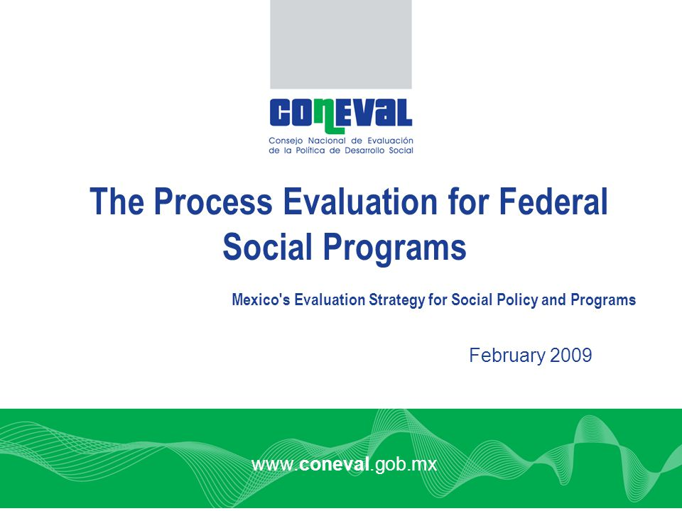 www.coneval.gob.mx February 2009 The Process Evaluation for Federal Social Programs Mexico s Evaluation Strategy for Social Policy and Programs