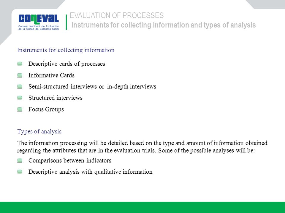 EVALUATION OF PROCESSES Instruments for collecting information and types of analysis