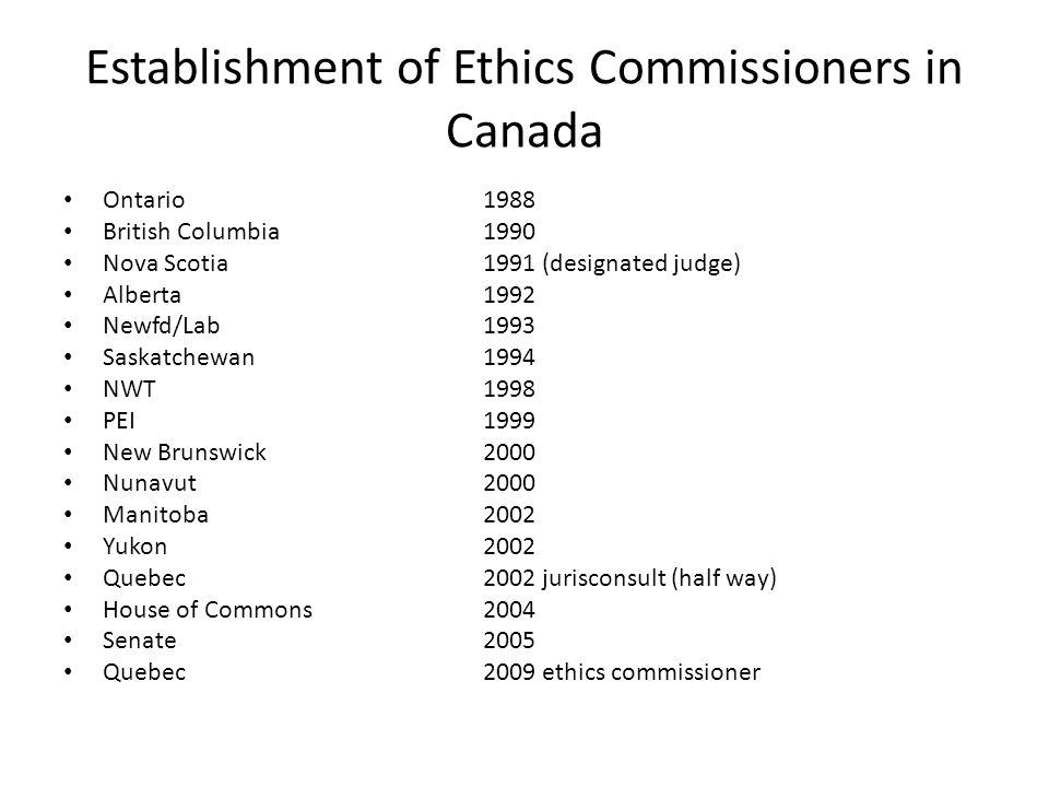 Establishment of Ethics Commissioners in Canada Ontario1988 British Columbia1990 Nova Scotia1991 (designated judge) Alberta1992 Newfd/Lab1993 Saskatchewan1994 NWT1998 PEI1999 New Brunswick2000 Nunavut2000 Manitoba2002 Yukon2002 Quebec2002 jurisconsult (half way) House of Commons2004 Senate2005 Quebec2009 ethics commissioner