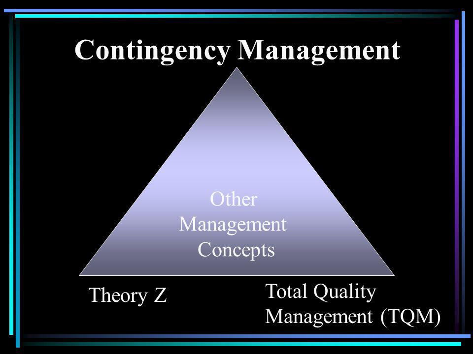 Other Management Concepts Contingency Management Total Quality Management (TQM) Theory Z